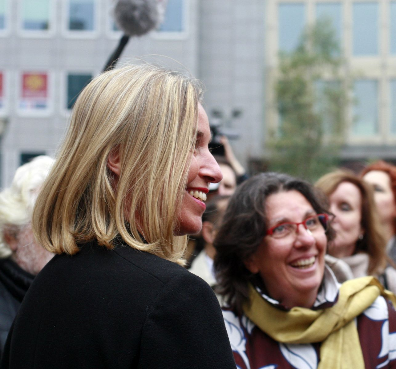 UN in Brussels Director Barbara Pesce-Monteiro and EU foreign policy chief Federica Mogherini
